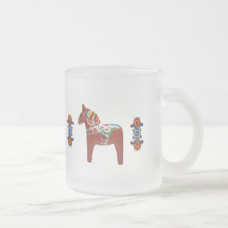 Swedish Dala Horse with Norwegian Rosemaling Frosted Glass Coffee Mug