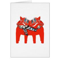 Swedish Dala Horses Apparel and Gifts Card
