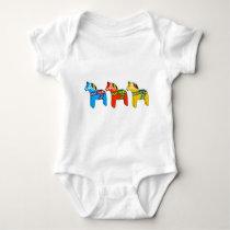 Swedish Dala Horses Baby Bodysuit