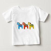 Swedish Dala Horses Baby T-Shirt