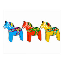 Swedish Dala Horses Postcard