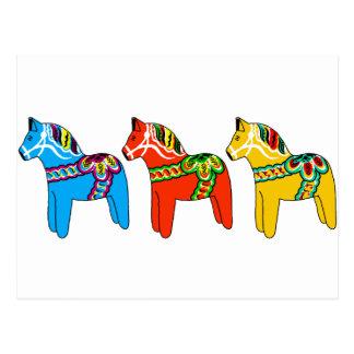 Swedish Dala Horses Postcard