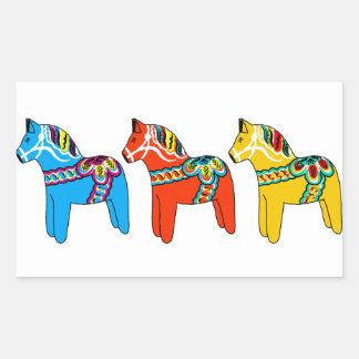 Swedish Dala Horses Rectangular Sticker