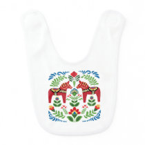 Swedish Dala Horses Red Baby Bib