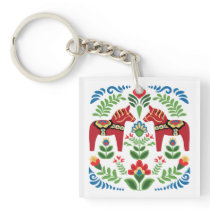 Swedish Dala Horses Red Keychain