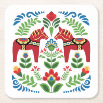 Swedish Dala Horses Red Square Paper Coaster