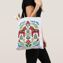 Swedish Dala Horses Red Tote Bag