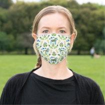 Swedish Dala Horses Teal Adult Cloth Face Mask