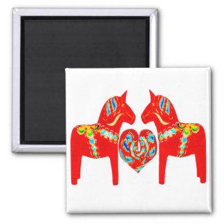 Swedish Dala Horses w Heart 2 Inch Square Magnet