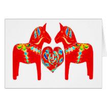 Swedish Dala Horses w Heart Card