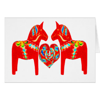 Swedish Dala Horses w Heart Greeting Card