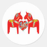 Swedish Dala Horses w Heart Classic Round Sticker
