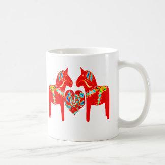 Swedish Dala Horses w Heart Coffee Mug