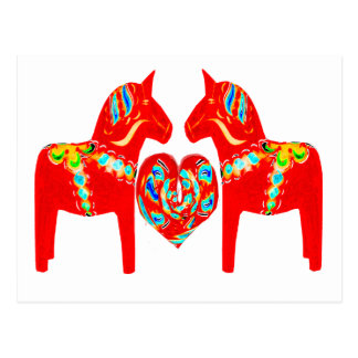 Swedish Dala Horses w Heart Post Card