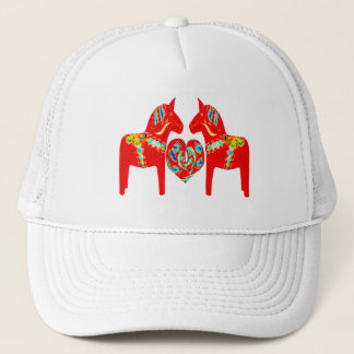 Swedish Dala Horses w Heart Trucker Hat