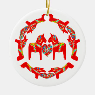 Swedish Dala Horses w Hearts Ornament