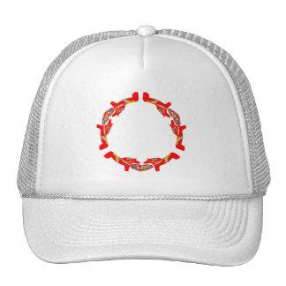Swedish Dala Horses w Hearts Trucker Hat