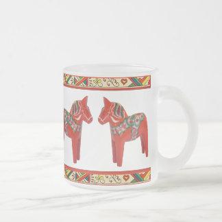 Swedish Dala Horses with Christmas Folk Art Border Frosted Glass Coffee Mug
