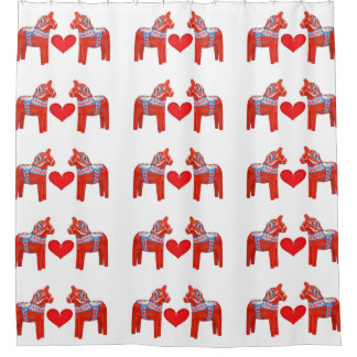 Swedish Dala Horses with Heart Accent Pattern Shower Curtain