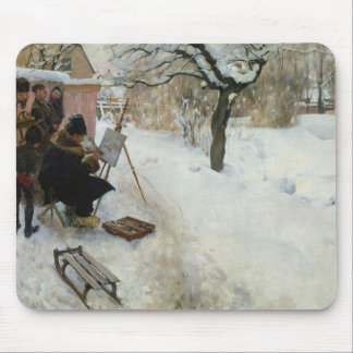 Swedish Farm in Winter Mouse Pad