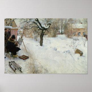 Swedish Farm in Winter Posters