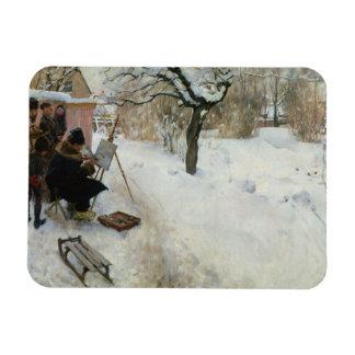 Swedish Farm in Winter Magnets