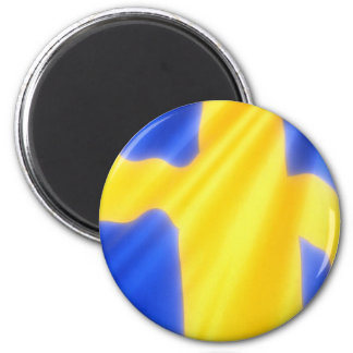 SWEDISH FLAG 2 INCH ROUND MAGNET