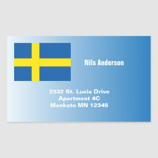 Swedish Flag Address Rectangular Sticker