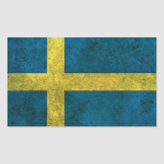 Swedish Flag Aged Steel Effect Rectangular Sticker