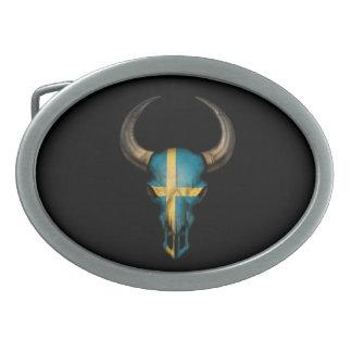 Swedish Flag Bull Skull on Black Oval Belt Buckles