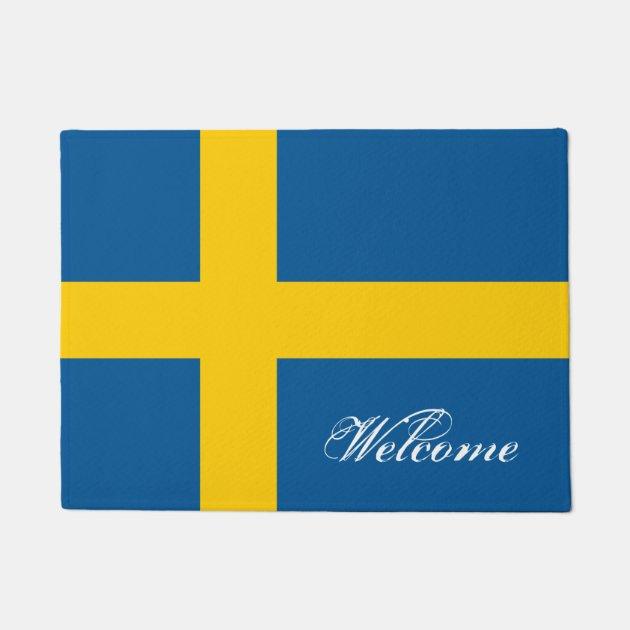 Swedish Flag Door Mat With Custom Welcome Text Zazzle