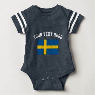 Swedish flag football jersey baby bodysuit outfit