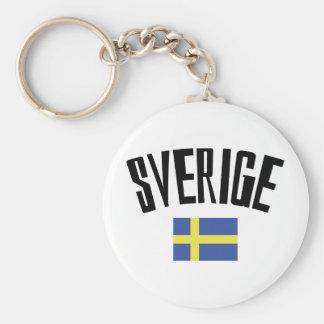 swedish flag icon basic round button keychain
