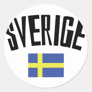 swedish flag icon classic round sticker