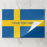 """Swedish flag of Sweden personalized Paper Placemat<br><div class=""""desc"""">Swedish flag of Sweden personalized tearaway placemats for Birthday,  dinner party,  family reunion,  baby shower etc. Personalized paper party supplies for Holidays,  weddings and celebrations. Add your name,  monogram letters,  funny quote or saying. Pretty table decorations and DIY decor ideas. Scandinavian pride design template.</div>"""