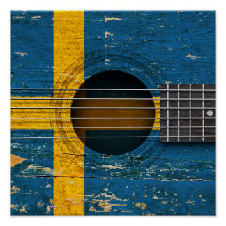Swedish Flag on Old Acoustic Guitar Poster