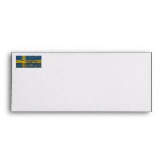 Swedish Flag on Rough Wood Boards Effect Envelope