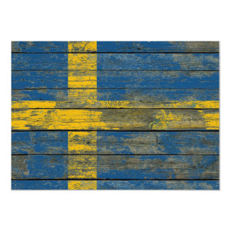 Swedish Flag on Rough Wood Boards Effect 5x7 Paper Invitation Card