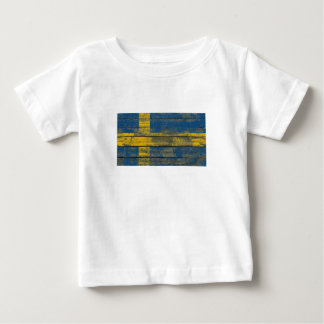 Swedish Flag on Rough Wood Boards Effect T-shirt