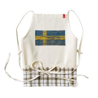 Swedish Flag on Rough Wood Boards Effect Zazzle HEART Apron