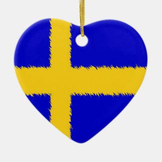 Swedish Flag Double-Sided Heart Ceramic Christmas Ornament