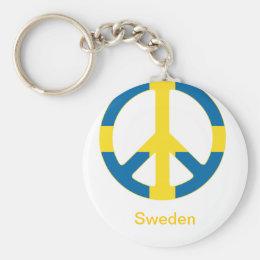 Swedish Flag Peace Symbol Keychain