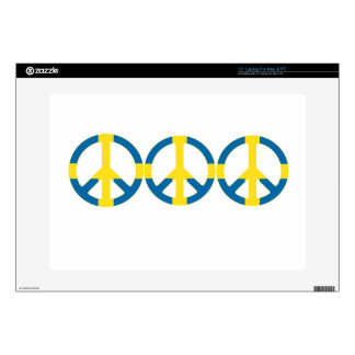 Swedish Flag Peace Symbol Laptop Decal