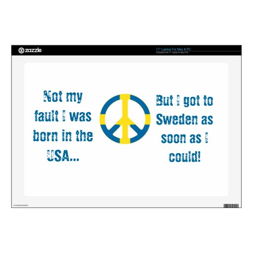 Swedish Flag Peace Symbol Skins For Laptops