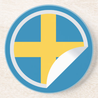 Swedish Flag Peel-off Sticker Sandstone Coaster