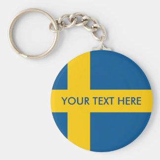 Swedish flag round button keychain for Sweden