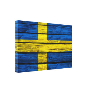 Swedish Flag Rustic Wood Canvas Print