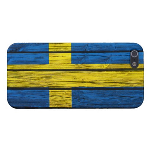 Swedish Flag Rustic Wood Case For iPhone 5