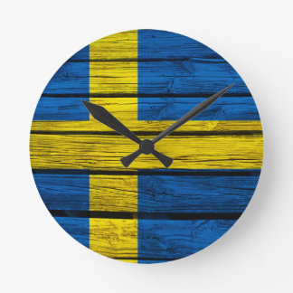 Swedish Flag Rustic Wood Round Wallclock