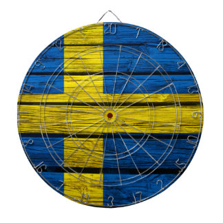 Swedish Flag Rustic Wood Dart Boards